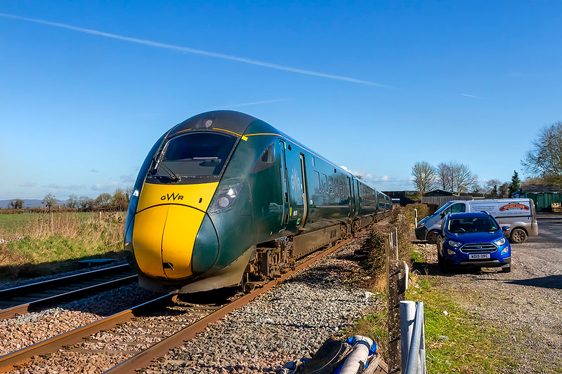 26th Feb 2021:  70 years ago 802017 would have just raced through the Pplatforms at Edington & Bratton station, on the Berks & Hants  line, as it works 1C80 the 13.03 from Paddington to Penzance.