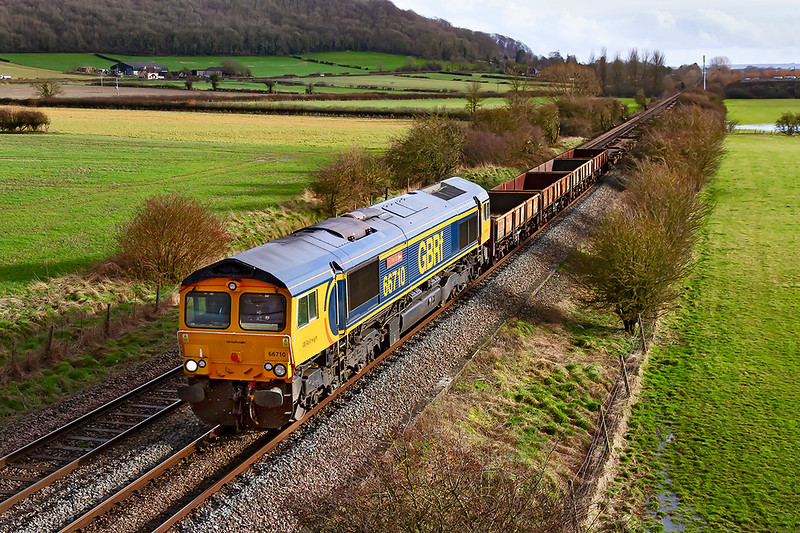 12th Feb 2020:  66710 'Phil Packer BRIT' has been rostered to work 6V44 from Marchwood MOT to Kineton MOD.    It is pictured from a bridge on the Warminster Bye Pass as it runs between Warminster and Westbury