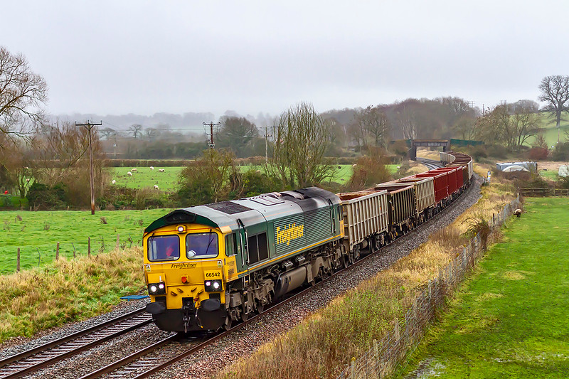 22nd Dec 2020:  On a very dull and drizzley afternoon 66542 running through Great Cheverell with 6C58 from Oxford Banbury Road to Whatley Quarry is of no interest to the lone sheep having a snack.