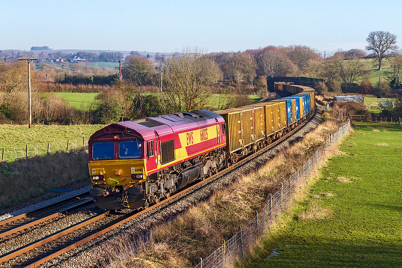 20th Jan 2020:  6C03 the waste containers from Northolt to Severnside Sita is again powered by 66025 although today there is no other loco acting as Tail Gunner.  The location is Great Cheverell.