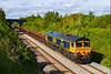 27th May 2021:  Pictured  from the foot bridge on the Frome Avoider is 66702 'Blue Lightning'. that is powering 6G75 from Westbury to Crediton.  66774 is at the rear.