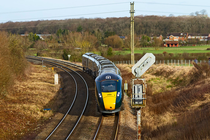 17th Jan 2021:  With Didcot closed for track relaying Bristol and South Wales passenger services are diverted to run via the Berks & Hants line.  Nearing Hawkeridge Junction is 800004 that will shortly turn left onto the East chord to Heywood Road Junction and onto the B & H. The service is 1A14 the 11.00 from Bristol Temple Meads to Paddington.