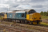 22nd Oct 2020:  Now back into BR Blue livery Colas 37. 37601 is resting in the spur at Westbury. I hope that it stays around and does a few workings.