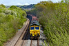 14th May 2021:  7V16 with 66601 in charge.works from Fareham to Whatley Quarry and has to reverse at Westbury. This used to happen in the Down Yard but now takes place in the old Cement Works sidings and then  runs round the New Line, AKA Avoider, rather than go through the staion on the final lrg to the quarry.  In recent years all the local line havehad all the lineside vegitaion removed.  The only exception being the New Line as is illustrated here .