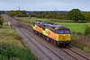 19th Sep 2020:  A pair od 56s are always worth the effort to get a shot.. 0C20 is moving Colas  56094 & 56096 from Doncaster to Westbury where they will then be used to take a departmental  working to Malvern Link..  The picture is taken from the Church Road bridge in Heywood near Hawkeridge Junction.