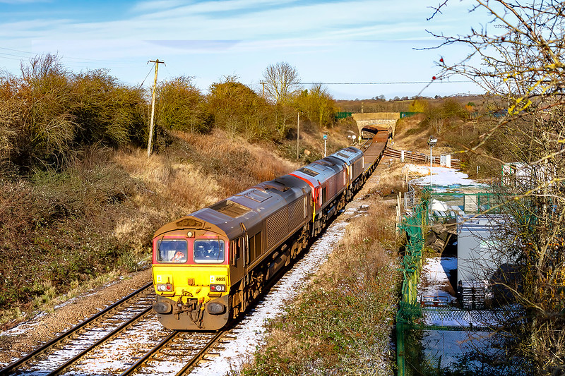 25th Jan 2021:  With a little snow still on the tracks at Hawkeridge Junction a Tripple Header nears it's destination at Westbury Down Yard,.  6T03 powered by 66155 and with 66027 and 66723 tucked inside stated from Margam.  Judging by it's state 155 that worked the whole RHTT season based at St Blazey has yet to receive a wash.
