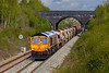 30th Apr 2021:  66726 is catching a bit of light as it runs along the Frome Avoider. while working 6G70 to Crediton from Westbury.  Out of sight on the other end is 66753,