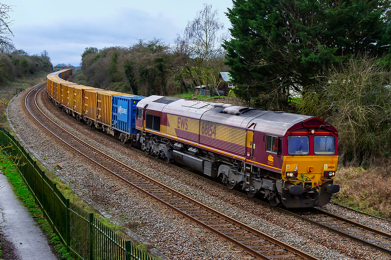 30th Jan 2020:  A few minutes after the Derby Tester passed coming the other way  was  66154 at the helm of 6C03 the 'Pong Liner' from Northolt to Severnside Sita.. The location is Lady Down in Trowbridge and Bradford Junction is just out of site round the corner.