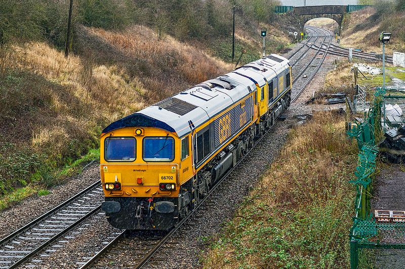 20th Feb 2021:  On a horrible wet and windy afternoon I thought  that the chance of picturing the initial pair of GBRf 67s was too good to miss.  Forming 0V72 66702 ,Blue Lightning' and 66701 are working from Barden Hill GBRf to Westbury and as at Hawkeridge Junction  they are nearly there  Later in the day they worked Top N Tail  a departmental to South Wales.