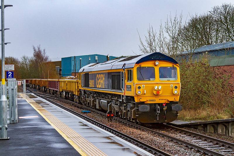 10th Feb 2020:  50003 'Yeoman Highlander' is the usual poweer for 6O41 from Eastleigh to Westbury.  Captured here as it passes through Warminster