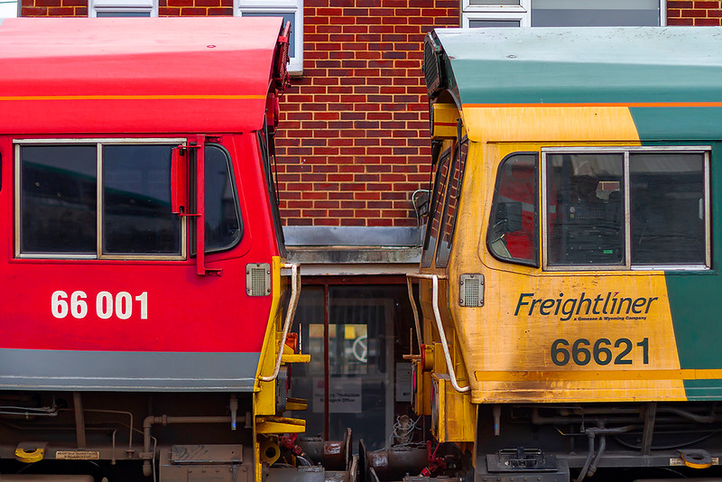 2nd Dec 2020:  Sheds 001 and 621 stand cab  to cab at Westbury