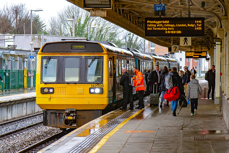 19th Feb 2020:  Standing in Platform 7 at Cardiff Central is  Pacer 142006..  It is froming 2A36 the 13.42 from Bridgend to Pontypridd
