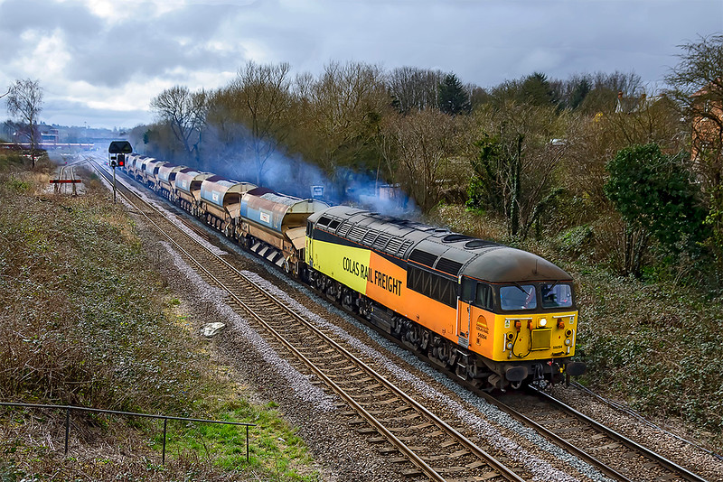 19th Mar 2021:  A Colas 56 on a departmental out of Westbury is not something to be missed if possible.  So despite the crap weather here at Hawkeridge is 56094 at the head of 6C22 going to Pengam Reception Sidings.  Sounded ok but the pollution was considerable..