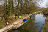 21st Mar 2016:  Towpath work taking place at Meadow Lane in Bathampton on the Kennett & Avon Canal.  There is a digger working behind the second boat !