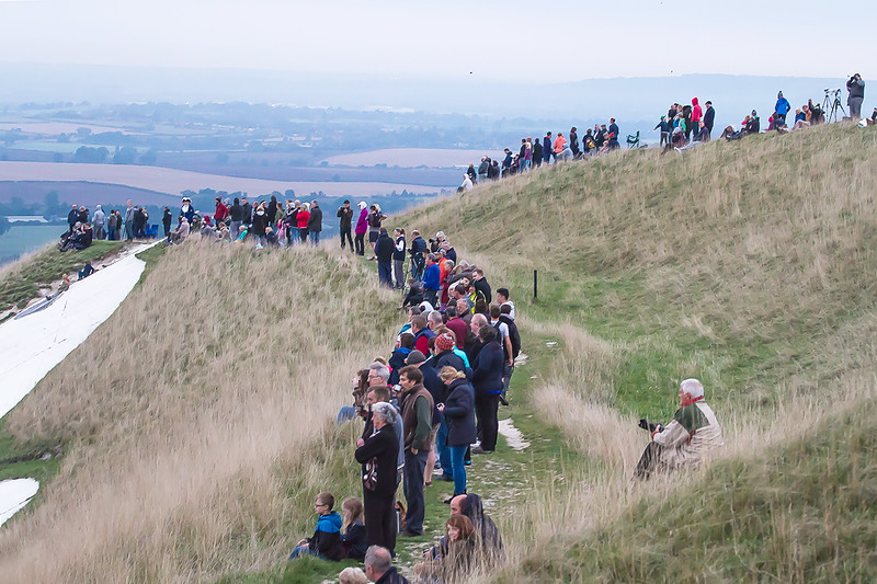 18th Sep 2016:  A few of the vast crowds that lined the hill side at 07.44