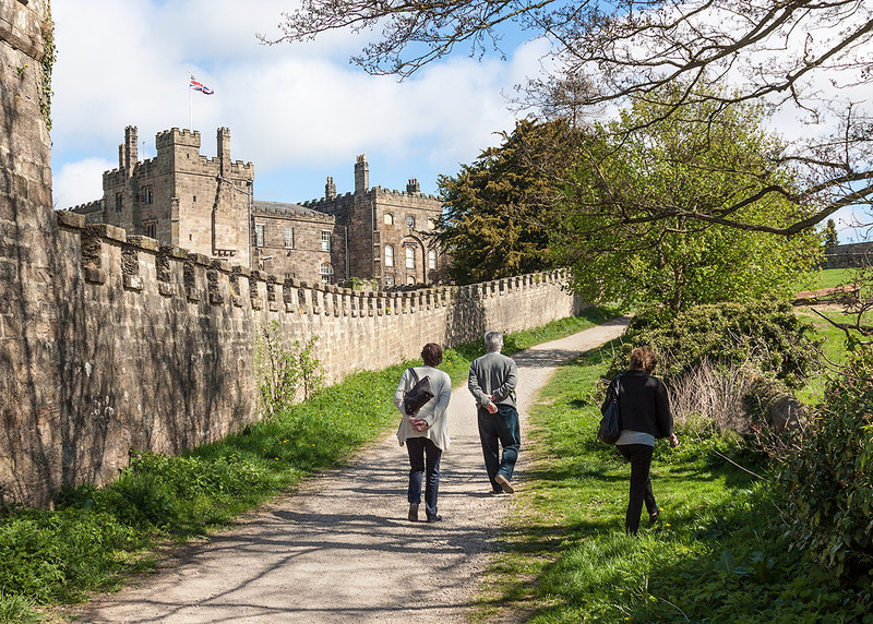 5th May 13:  Walking beside the outer walls at Ripley Castle