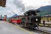 26th May 2019:  On the Achensee Cog Railway Number 1 'Theodor' brings  two coaches from the yard into the station at Jenbach.  From here it will push them the 4.21 miles to Seespitz on lake Achensee