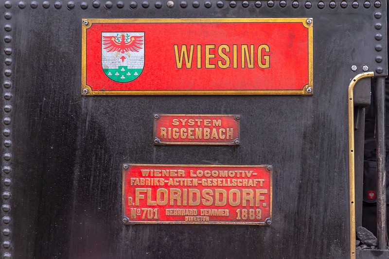 26th May 2019:  Loco No1, works number 701 built in 1889, had to work very hard at a few. places on the 4.21 miles of the Achensee Metre guage cog railway from Jenbach
