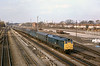 17th Feb 1983:  31181 brings an up parcels  across from the Up Main and onto the Up Relief at Slough West Junction that is just behind the bridge that I am standing on