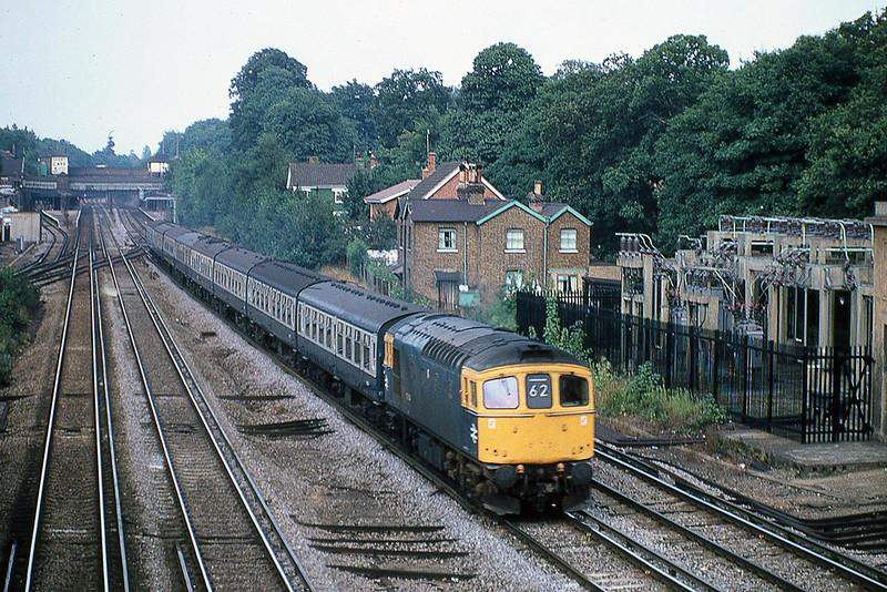 24t5h Aug 1981:  33004 on the 10.38 Waterloo to Salisbury on the fast through Weybridge