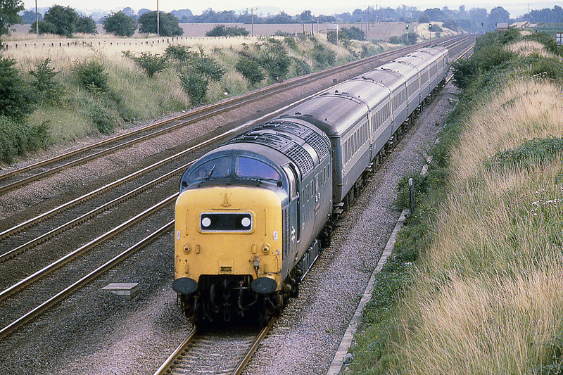 10th Aug 1981:  55022 'Royal Scots Grey'  at Langford working the 16.03 Kings Cross to York