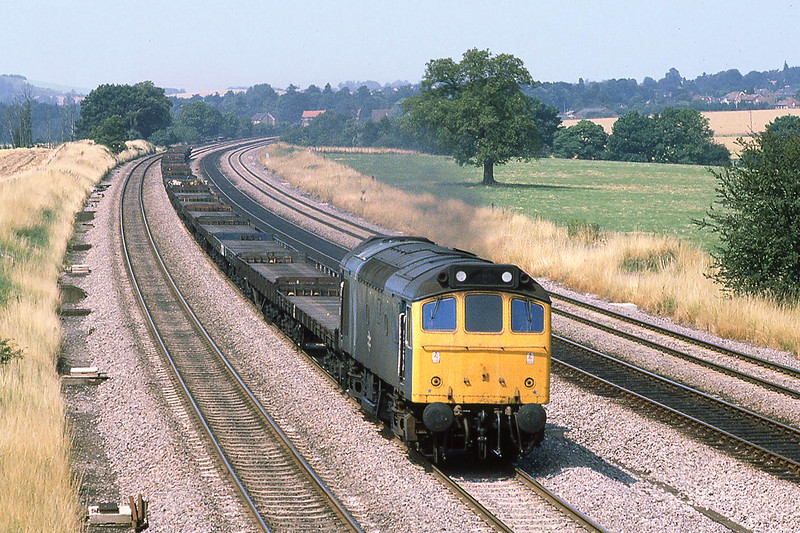 29th Jul 81:  25175 on the Up Main at Lower Basildon with empty car flats
