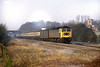 18th Feb 1983: Racing along the Up Main line through Ruscombe is 47586 with the 08.10 Oxford to Paddington