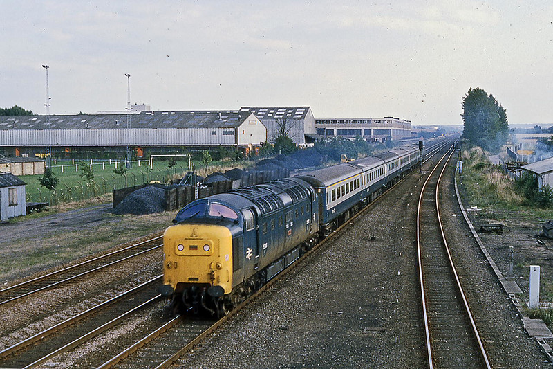 10th Aug 1981:  'Tulyar' 55015 is passing the site of  Three Counties Station with the 17.00 Kings Criosss to York