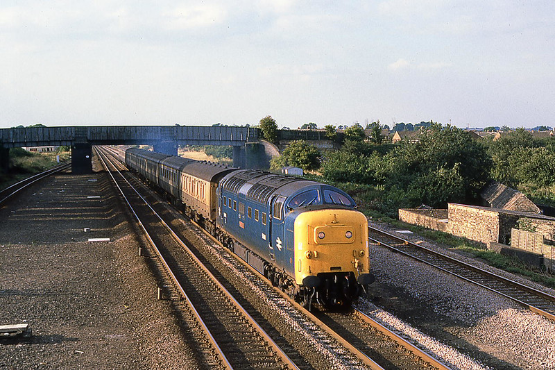 10th Aug 1981:  55018 'Ballymoss' at Arlesey, the site of 'Three Counties' station, when working the 15.50 from York to Kings Cross.