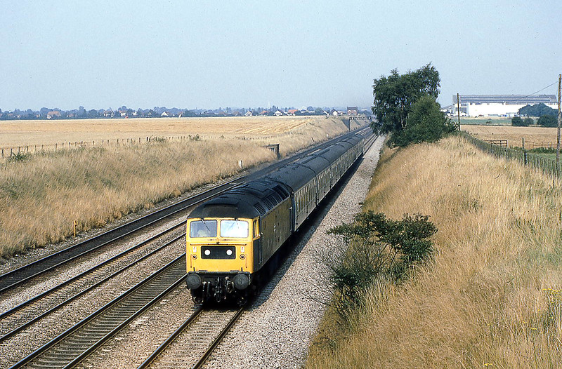12th Aug 1981: Seen at Shottesbrooke is the  15.31 from Paddington to Moreton in the Marsh powered by 47147
