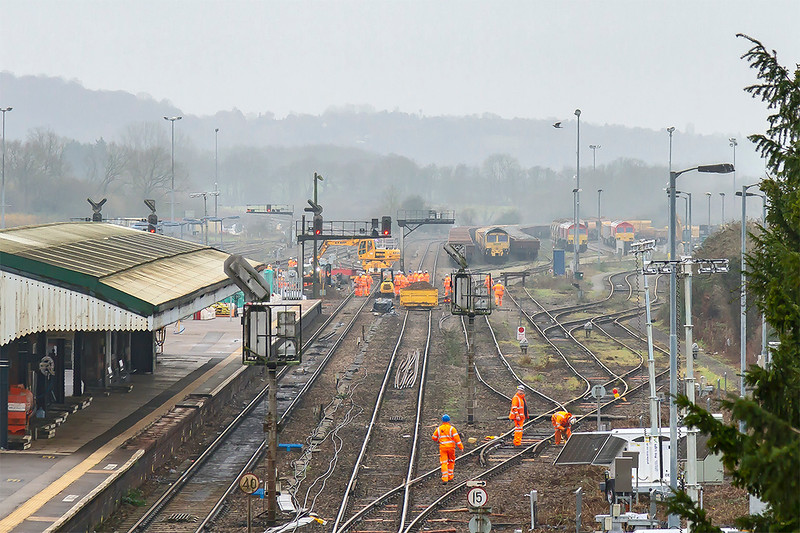 24th Dec 2018:  Work at the South end of the station where the platform will be lengthened and new signals installed