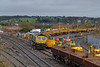 23rd Dec 2018:  Junction repacement work out side Westbury Signal Box. 70 minutes later 66416 moved forward so the the JNAs could be filled with ballast etc.