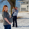 winter farmhouse maternity shoot