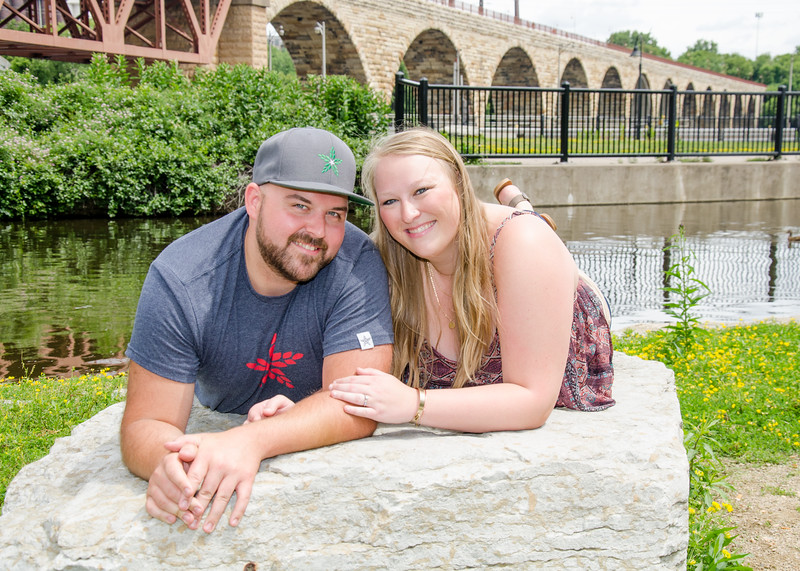 Engagement at stone arch bridge