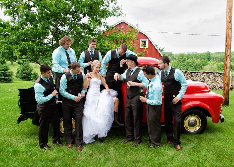 Bride with Groomsmen and truck