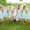 bride & bridesmaids showing off boots & legs