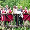 wedding party on bridge photo