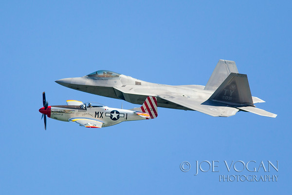 Lockheed Martin F-22 Raptor and P-51 Mustang Heritage Flight, Jacksonville Beach, Florida