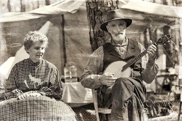 Banjo player and his wife, Olustee Civil War Reenactment, Olustee, Florida