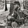 Union Soldier resting against a pine tree, Olustee Civil War Reenactment, Olustee, Florida