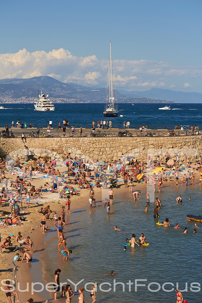 Antibes beach with yachts