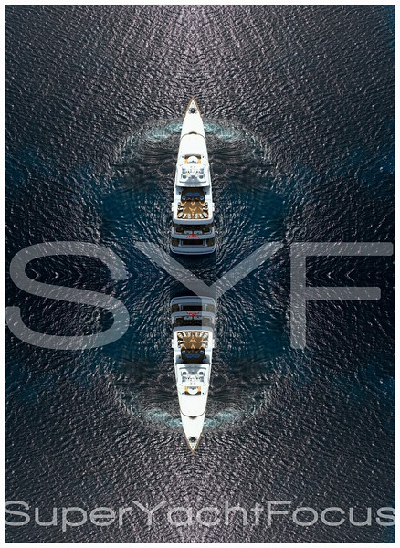 Aerial superyacht reflection