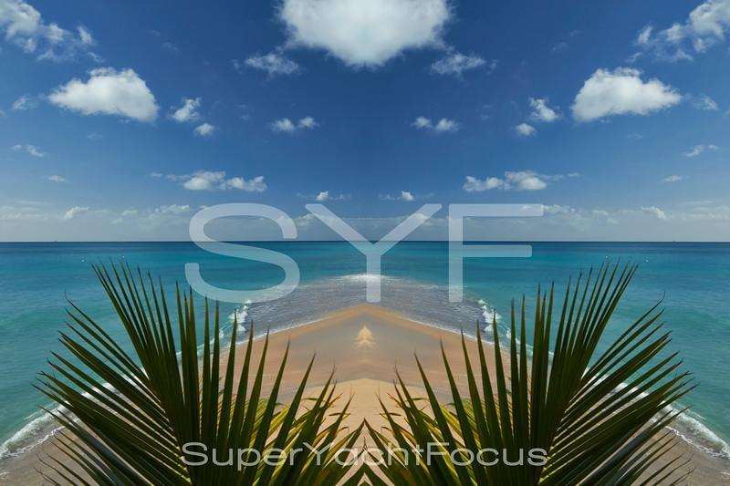 Beach with palms, Antigua