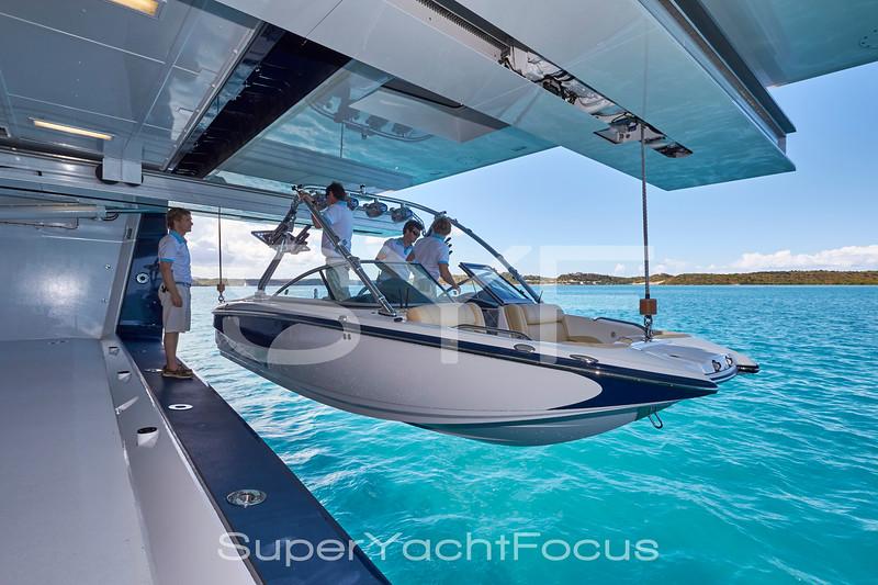 Crew launching ski-boat
