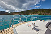 Aft deck sunbed with champagne