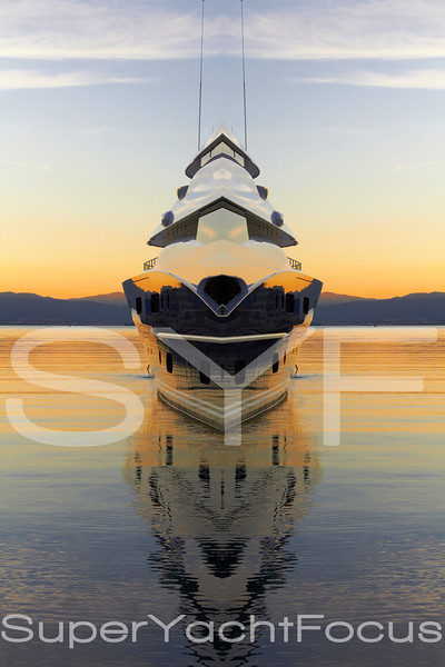 Creative superyacht at sunset