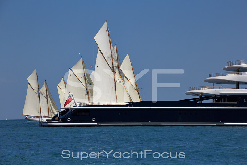 Luna with classic yachts