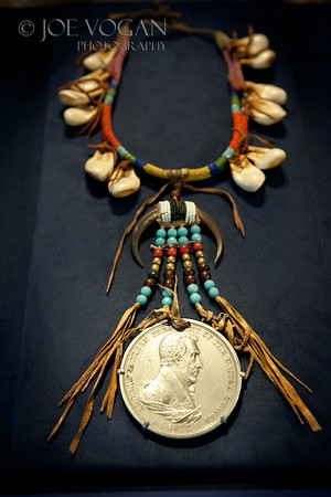 Peace Medal with Andrew Jackson (medal 1829).  Probably Blackfeet Nation, eagle claw, glass beads.