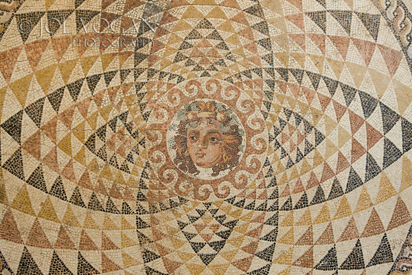 Mosaic Floor of Bacchus (Dionysos),Decorated with the head of Dionysos.  From a roman villa, circa 2nd century A.D.