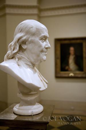 Bust of Benjamin Franklin,  marble, Jean-Antoine Houdon, French, 1779